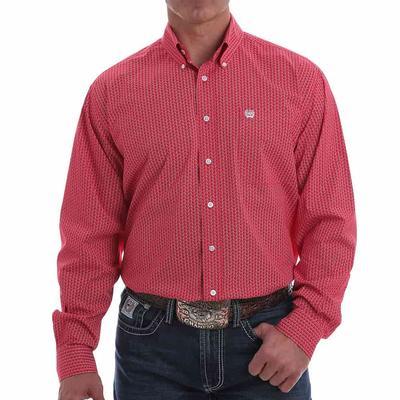 Cinch Men's Stretch Red Geometric Button Down Shirt