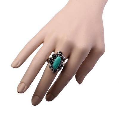 Silver Stamp Turquoise Concho Ring