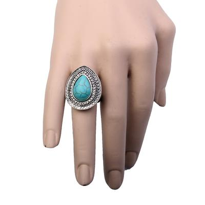 Teardrop Concho Imitation Turquoise Ring