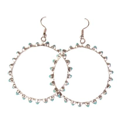 Turquoise & Silver Round Hoop Petite Point Earrings