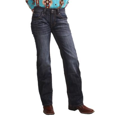 Rock & Roll Men's Dark Vintage Pistol Straight Leg Jeans