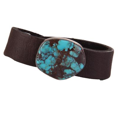3/4 Black Leather & Turquoise Stone Bracelet