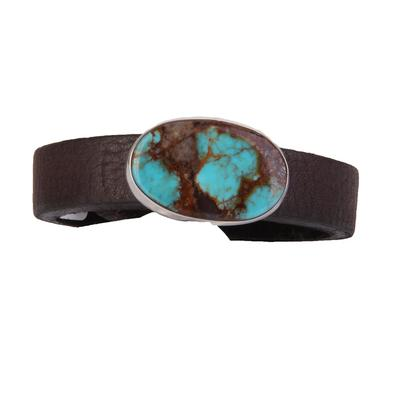1/2 Inch Turquoise & Leather Bracelet