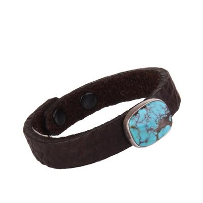 1/2 Inch Small Black Leather & Turquoise Stone Bracelet