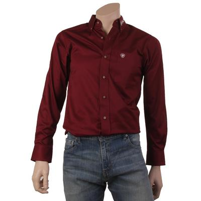 Ariat Men's Fitted Team Logo Button Down Shirt In Maroon