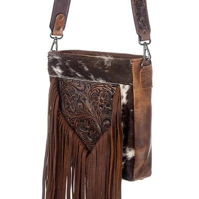 American Darling Hair On Tooled Leather Tassel Bag
