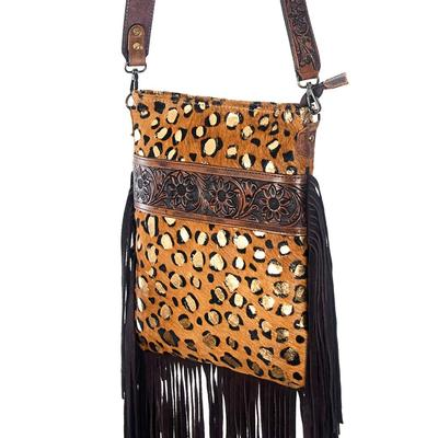 American Darling Cheetah & Tooled Leather Fringe Crossbody