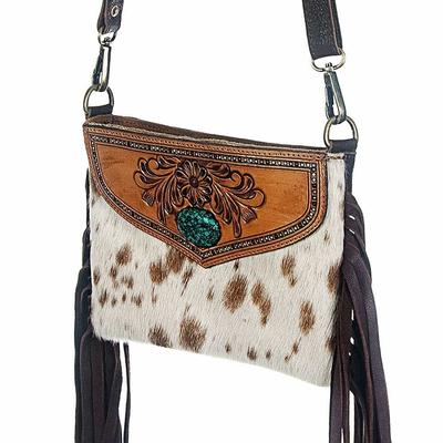 American Darling Tooled Leather & Turquoise Hair on Fringe Cross Body