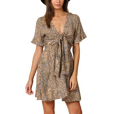 Women's Leopard Print Bow Tie Dress