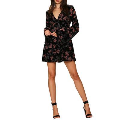 Women's Floral Velvet Dress