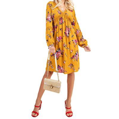 Kori Women's Mustard Floral Dress
