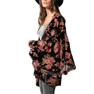 Women's Velvet Floral Burnout Kimono