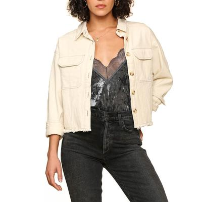 Women's Ivory Denim Cropped Jacket