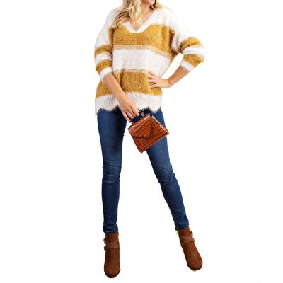Kori Women's Scallop Hem Striped Sweater