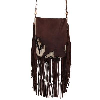 American Darling Black & White Leather Fringe Crossbody