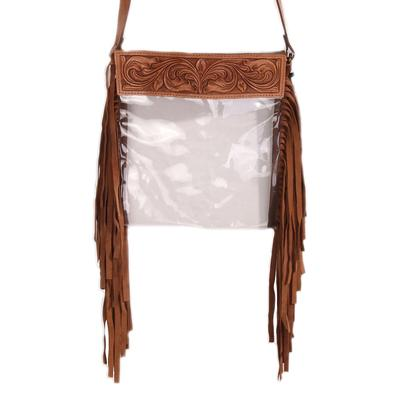 American Darling Tooled Leather & Fringe Clear Bag