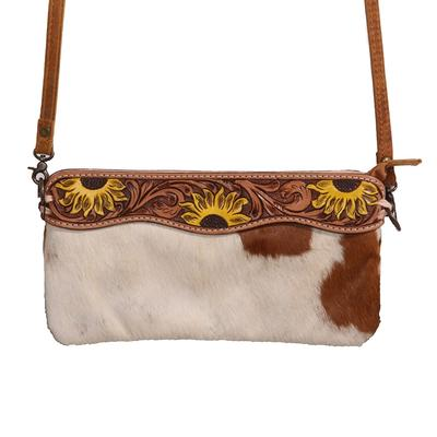 American Darling Sunflower Tooled Hair On Leather Crossbody