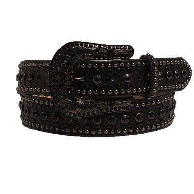 Ladies 1.5 Inch Black Leather & Studded Belt