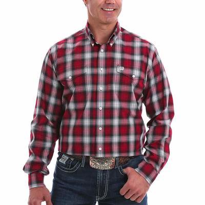 Cinch Men's Burgundy Double Pocket Button Down Shirt