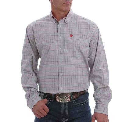 Cinch Men's Grey Long Sleeve Checkered Button Down