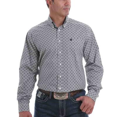 Cinch Men's White Diamond Long Sleeve Button Down