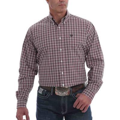 Cinch Men's Long Sleeve Red Checkered Button Down Shirt