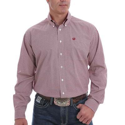 Cinch Men's Red Micro Print Button Down Shirt