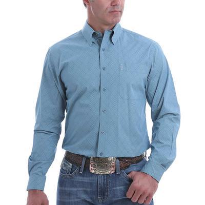 Cinch Men's Blue Diamond Long Sleeve Button Down
