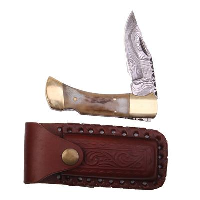 4 Inch Damascus Stag Double Bolstered Folding Knife With Sheath