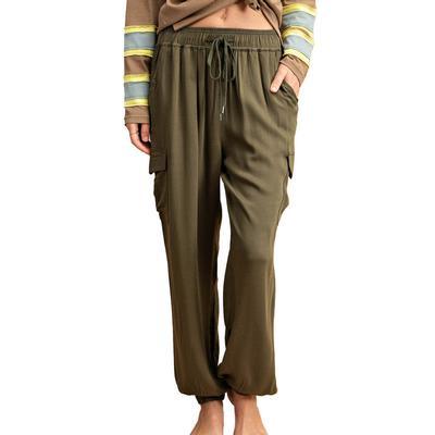 Kori Women's Olive Drawstring Jogger Pants