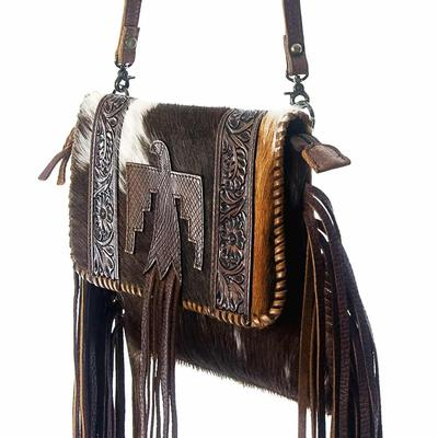 American Darling Tooled Leather Hair On Eagle Fringe Crossbody