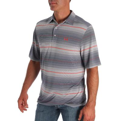 Cinch Men's Grey & Red Striped Polo
