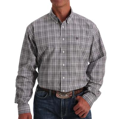 Cinch Men's Plaid Grey & Purple Button Down Shirt