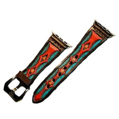 Hand Tooled & Painted Leather Aztec Watch Band