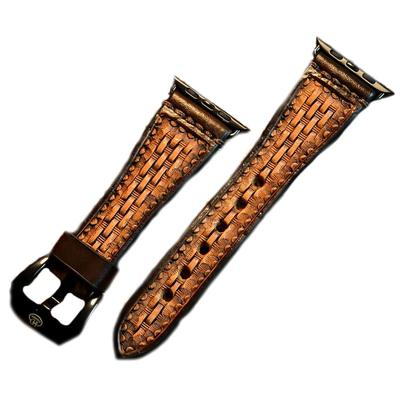Hand Tooled Leather Basket Weave Watch Band