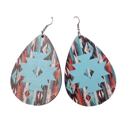 Aztec Wood Teardrop Earrings
