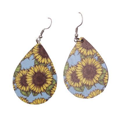 Vibrant Sunflower Teardrop Earrings