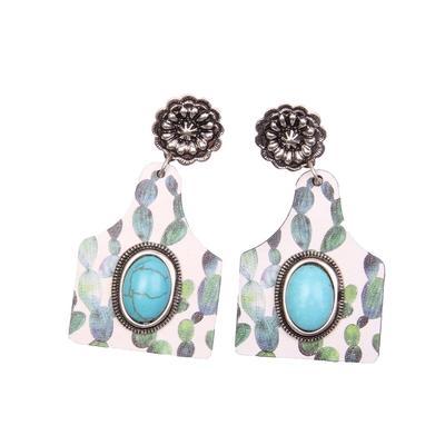 Cow Tag Cutout & Stone Dangle Earrings