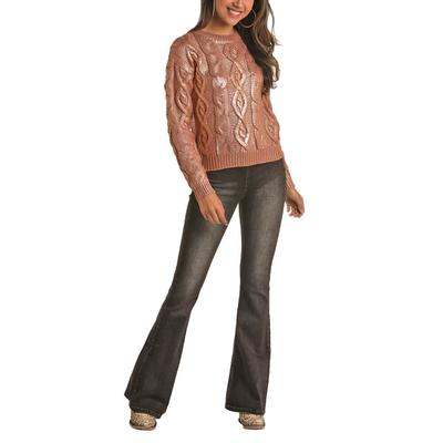 Rock&Roll Women's Metallic Cable Knit Sweater