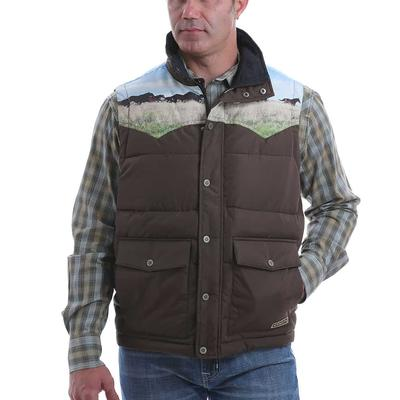 Cinch Men's Retro Quilted Horse Print Vest
