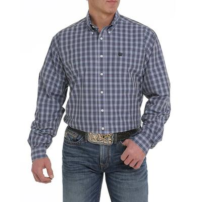 Cinch Men's Navy, Grey, and Cream Plaid Button Down