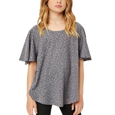 Hayden Girl's Stone Washed Leopard Top