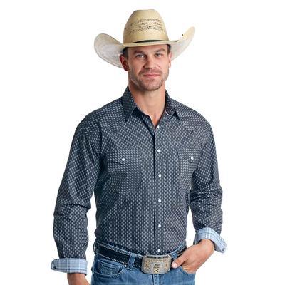 Panhandle Men's Blue Timer Western Snap Shirt