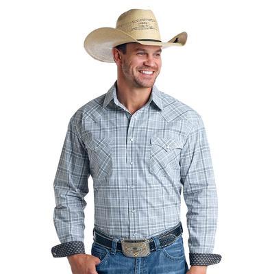 Panhandle Men's Blue Plaid Snap Western Shirt