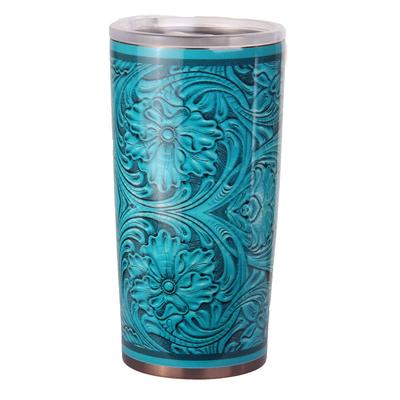 Turquoise Tooled Leather Styled Tumbler 24oz