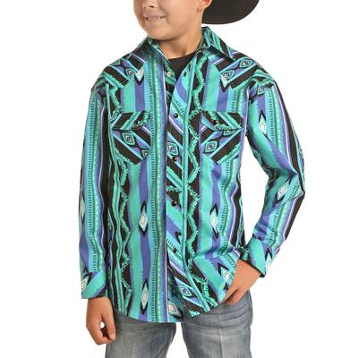 Rock&Roll Dale Brisby Boy's Turquoise Aztec Print Shirt