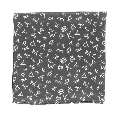 Black Branded Silk Wild Rag
