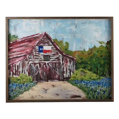 Texas Flag Red Barn Framed Canvas