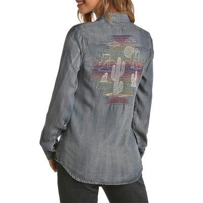 Rock&Roll Women's Embroidered Denim Top