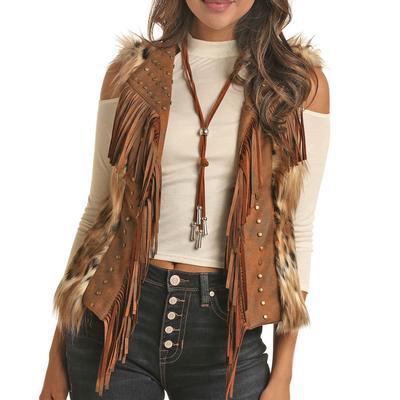 Rock&Roll Women's Faux Fur Fringe Vest